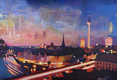 Illuminated Berlin Skyline At Dusk  Original by M Bleichner