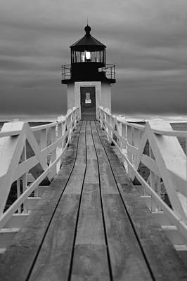 Photograph - Illuminated Boardwalk In Black And White by Paul Mangold
