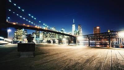 Illuminated Brooklyn Bridge By City Art Print by Arnaud Mallen / Eyeem
