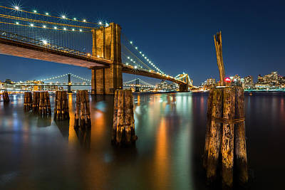 Photograph - Illuminated Brooklyn Bridge By Night by Mihai Andritoiu
