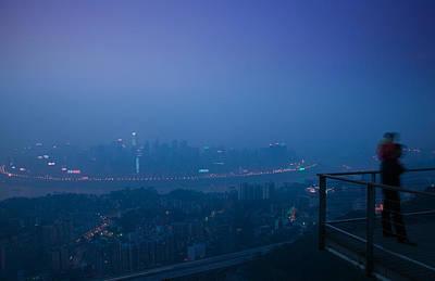 Illuminated City Viewed From Yikeshu Art Print by Panoramic Images
