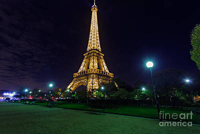 Illuminated Eiffel Tower At Midnight Art Print by Rostislav Bychkov