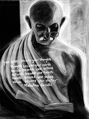 Drawing - Illuminated Gandhi by Naresh Sukhu
