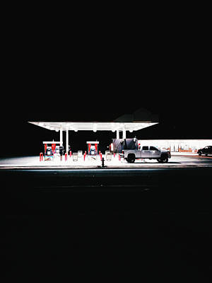 Illuminated Gas Station With Car At Art Print by Constantin Renner / Eyeem