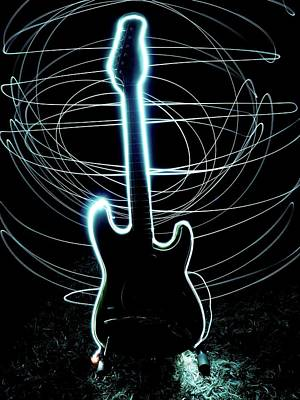 Illuminated Guitar With Light Painting Art Print by Alexander Rieber / Eyeem