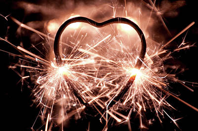 Burning Heart Wall Art - Photograph - Illuminated Heart Shaped Sparkler by 400tmax