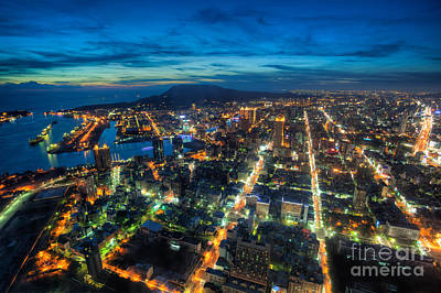 Taipei Photograph - Illuminated Kaohsiung City At Night Skyline Taiwan Cityscape by Fototrav Print