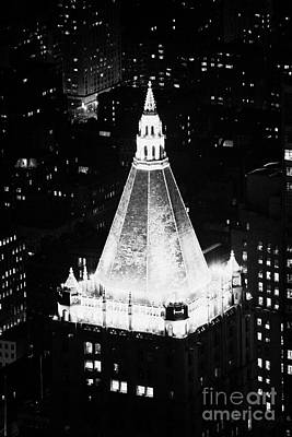 Illuminated Night View Of New York Life Insurance Co Building Roof New York City Print by Joe Fox