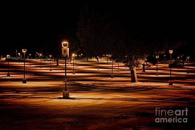 Photograph - Illuminated Parking Lot by Kim Wilson