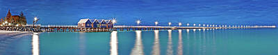 Busselton Photograph - Illuminated Pier Over The Pacific by Panoramic Images