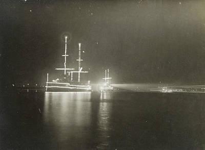 Illuminated Drawing - Illuminated Ship In Amsterdam, The Netherlands by Artokoloro