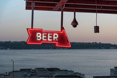 Photograph - Illuminated Signboard Hanging Against by Richard Theis / Eyeem