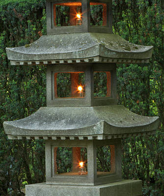Illuminated Stone  Pagoda Lantern Art Print by William Sutton