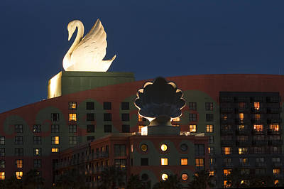 Walt Disney World Photograph - Illuminated Swan Hotel by Andrew Soundarajan