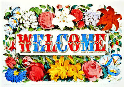 Illuminated Welcome Sign 1873 Art Print by Padre Art