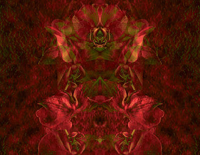 Lyrical Digital Art - Illumined Orchid Fantasy In Rosegold by Lynda Lehmann