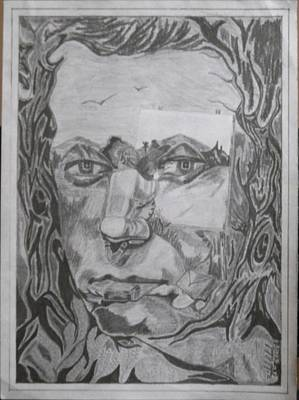 Sketches Etc Drawing - Illusionary Face by Rajdeep Ghosh