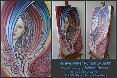 Art Print featuring the painting Illusive Water Nymph 240908 by Selena Boron