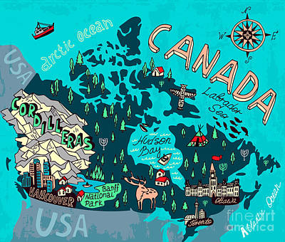 Trip Wall Art - Digital Art - Illustrated Map Of Canada. Travel by Daria i