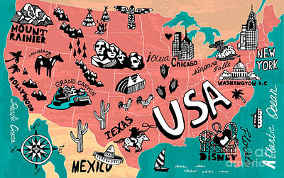 Trip Wall Art - Digital Art - Illustrated Map Of Usa by Daria i