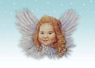 Illustrated Twinkling Angel Art Print