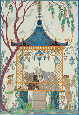 Outdoor Nude Painting - Illustration For 'fetes Galantes' by Georges Barbier