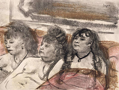 Prostitution Drawing - Illustration From La Maison Tellier by Edgar Degas