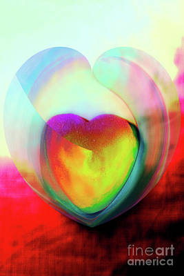 Illustration My Crazy Abstract Heart Art Print by Linda Matlow