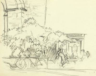 Nineteenth Century Digital Art - Illustration Of A Cafe Scene by Carl Oscar August Erickson