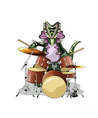 Drum Kit Digital Art - Illustration Of A Chasmosaurus Playing by Stocktrek Images