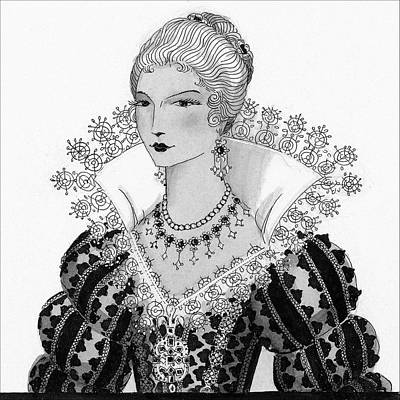 Illustration Of A Fifteenth Century Woman Art Print by Claire Avery