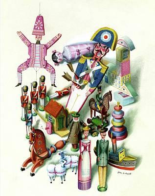 Male Likeness Digital Art - Illustration Of A Group Of Children's Toys by Jan B. Balet