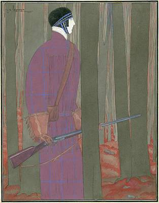 Male Digital Art - Illustration Of A Hunter In A Forest by Georges Lepape