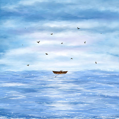 Illustration Of A Lonely Boat Art Print