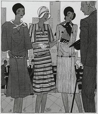 Street Scenes Digital Art - Illustration Of A Man And Three Fashionable Women by Jean Pages