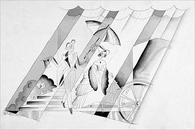 Staircase Digital Art - Illustration Of A Man Holding An Umbrella by John Barbour