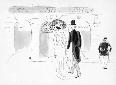 Illustration Of A Nineteenth Century Couple Art Print by Oberle