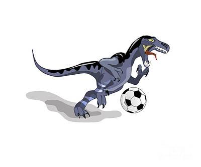 Illustration Of A Raptor Dinosaur Art Print by Stocktrek Images