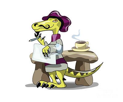 Playful Digital Art - Illustration Of A Raptor Poet Thinking by Stocktrek Images