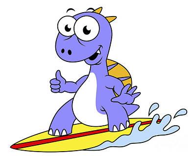Illustration Of A Surfing Spinosaurus Art Print