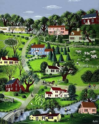 Illustration Of A Village Art Print