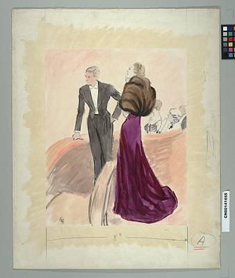 Male Likeness Digital Art - Illustration Of A Woman And Man Dressed by Carl Oscar August Erickson