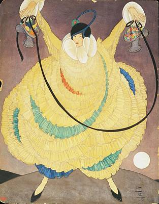 Food Digital Art - Illustration Of A Woman In A Large Yellow Gown by George Wolfe Plank
