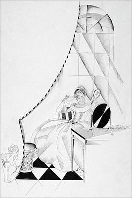 Illustration Of A Woman In A Wedding Dress Art Print