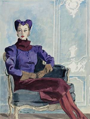 Illustration Of A Woman In An Armchair Art Print by Pierre Mourgue
