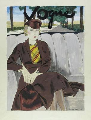 Illustration Of A Woman In The Back Seat Of A Car Art Print