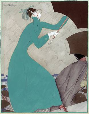 Male Likeness Digital Art - Illustration Of A Woman In The Rain by Georges Lepape
