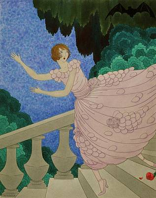 Illustration Of A Woman Running Down A Staircase Art Print by Harriet Meserole