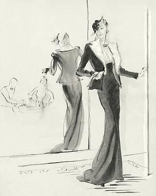 Digital Art - Illustration Of A Woman Standing Beside A Mirror by Rene Bouet-Willaumez