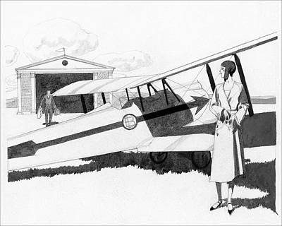 Plane Digital Art - Illustration Of A Woman Standing Next To A Biplane by Pierre Mourgue